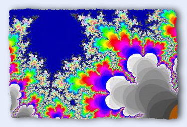 This segment of the Mandelbrot Set looks like a coastline bordered by coral reefs. The closer you zoom in on the reef, the more it looks like a real coral reef. Go ahead, click it and see what I mean.
