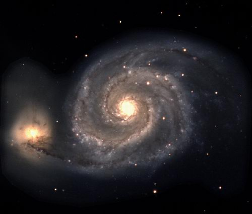 The Spiral Galaxy M51 - Galaxy is a Greek word. It means Milky Way. If we could see our own galaxy from a distance it might look like this spiral galaxy.