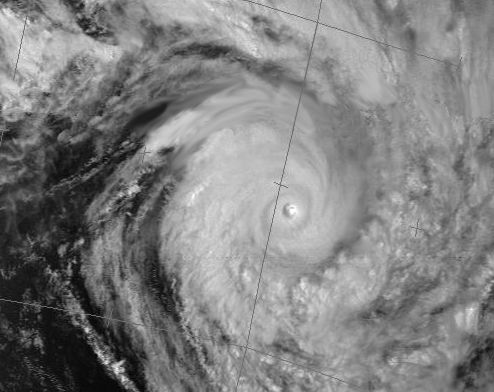 Hurricane Susan in the South Pacific - Image taken by the NOAA9 satellite. At the lower left of the image, the Moira is hiding in the Baie du Prony in New Caledonia.
